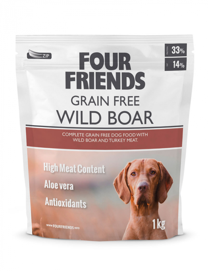 four friends hundmat grain free wild boar 12 kg