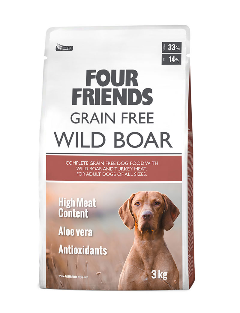 four friends hundmat grain free wild boar 3 kg