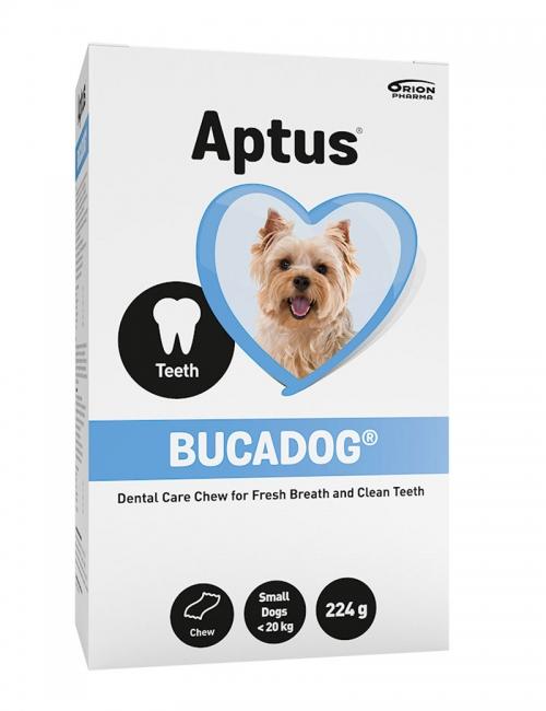 En förpackning Aptus Bucadog Dental Care Chew för fräsch andedräkt och rena tänder.