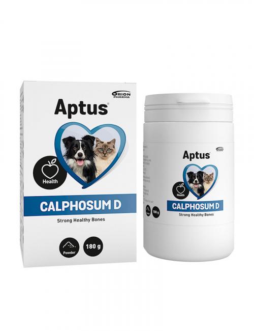En burk kosttillskott från Aptus. Calphosum D för starka ben hos hund och katt.