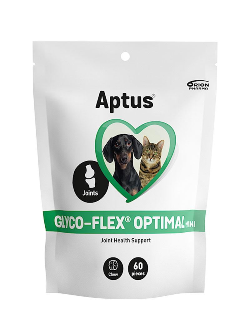 En förpackning Aptus Glyco-Flex optimal för hund och katt.