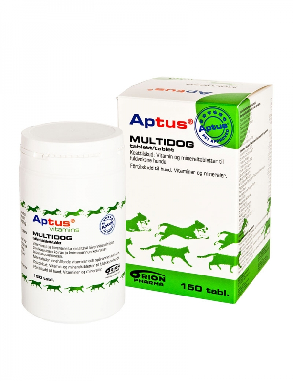 En vitaminburk med multivitaminer för hundar. Aptus Multidog.