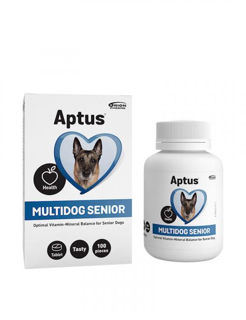 Aptus Multidog Senior. Multivitaminer för äldre hundar.