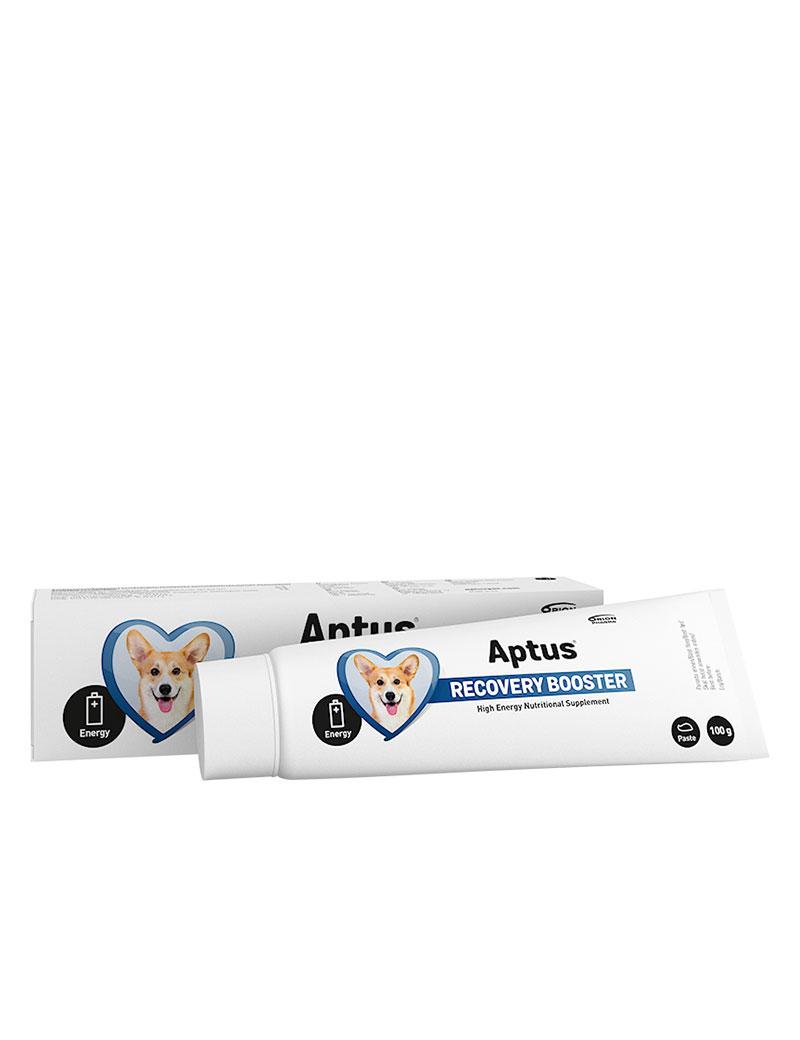 En tub Aptus Recovery Booster för hundar.