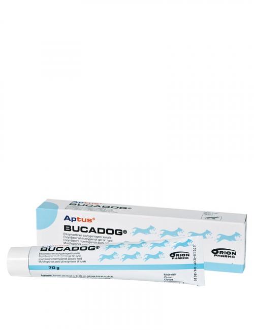 En tub Bucadog från Aptus. Munhygienisk gel för hund.