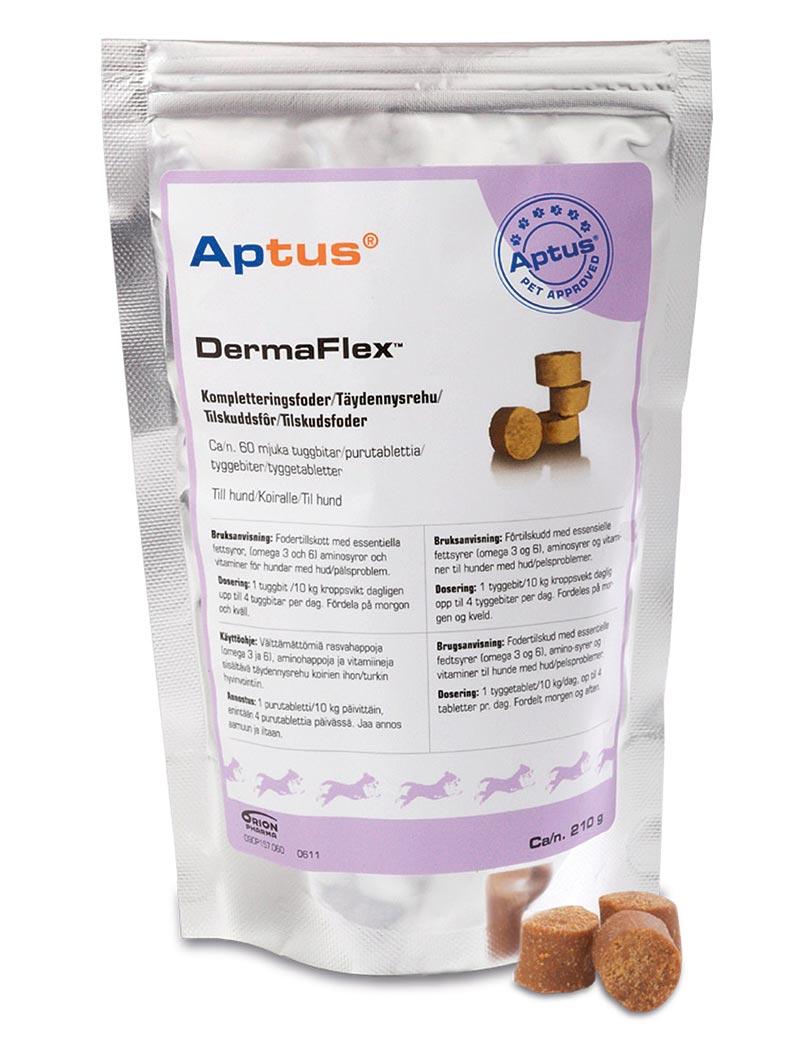 Aptus DermaFlex tillskottsfoder för hundar med hud- eller pälsproblem.