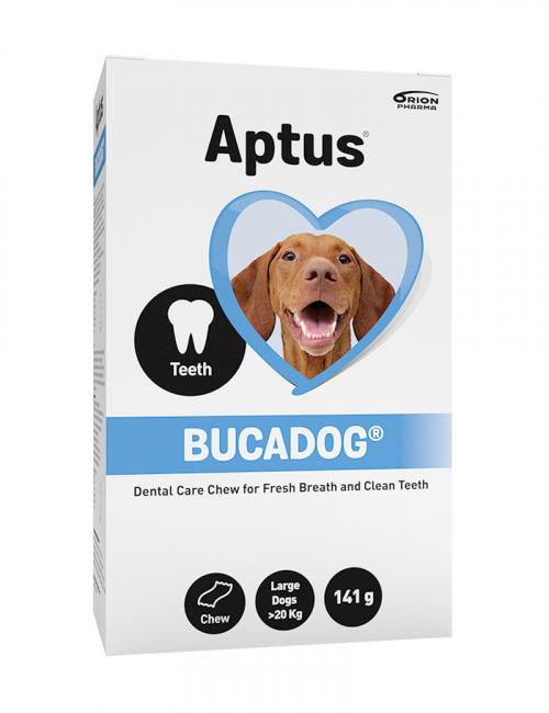 Aptus förpackning med Bucadog tugg för stora hundar.