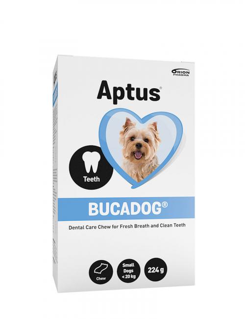 Aptus förpackning med Bucadog tugg för små hundar.