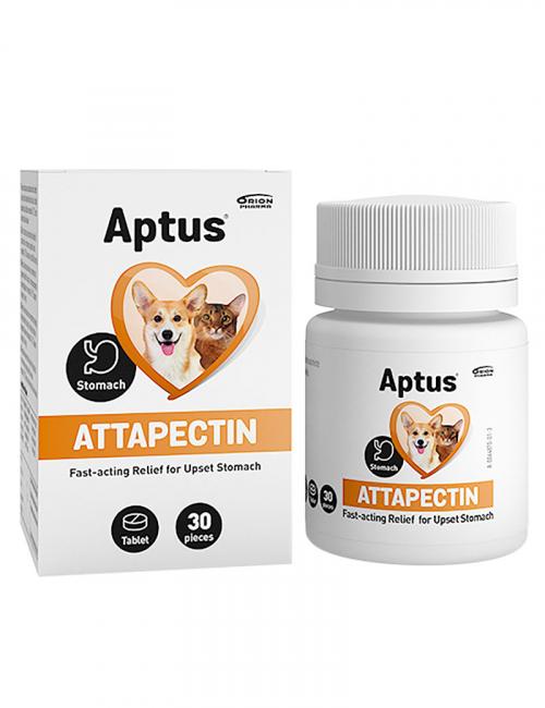 En burk attapectin från Aptus. 30 tabletter fodertillskott för hund och katt.