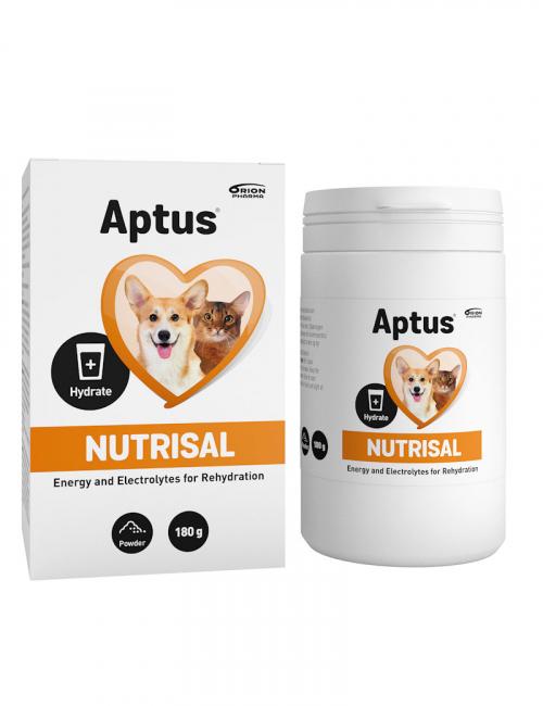 En burk Aptus Nutrisal för hund och katt.